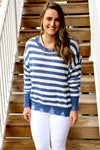 Distressed Striped Sweater - Yellow Kiss Boutique