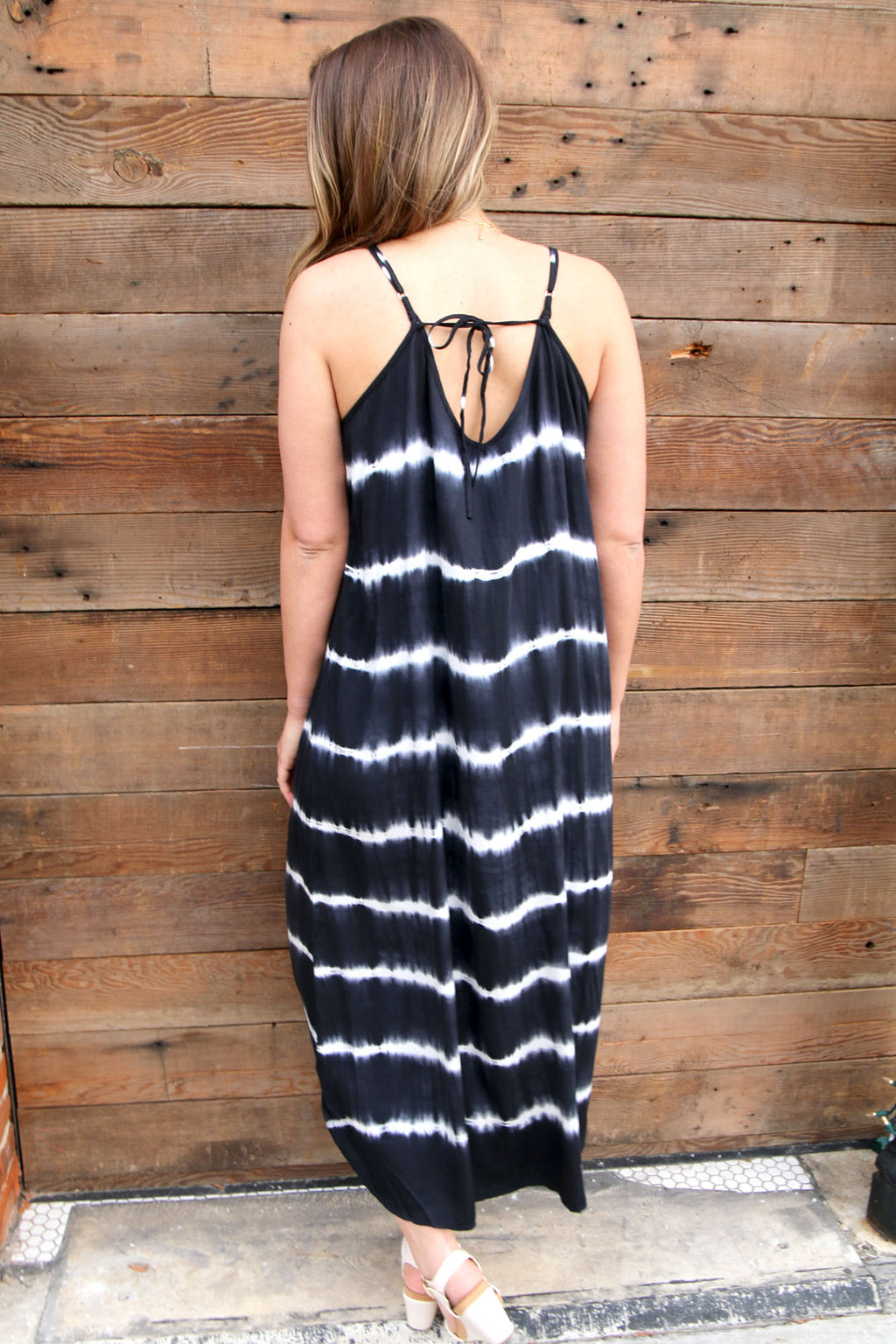 Black & White Tie-Dye Maxi - Yellow Kiss Boutique