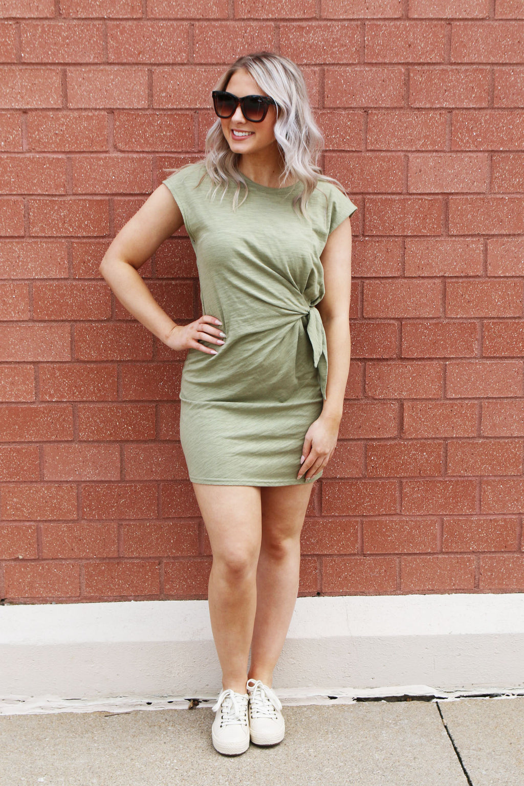 Olive Side Tie Dress