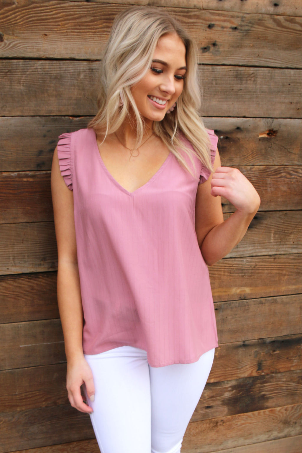 Mauve Ruffle Tank Top - Yellow Kiss Boutique