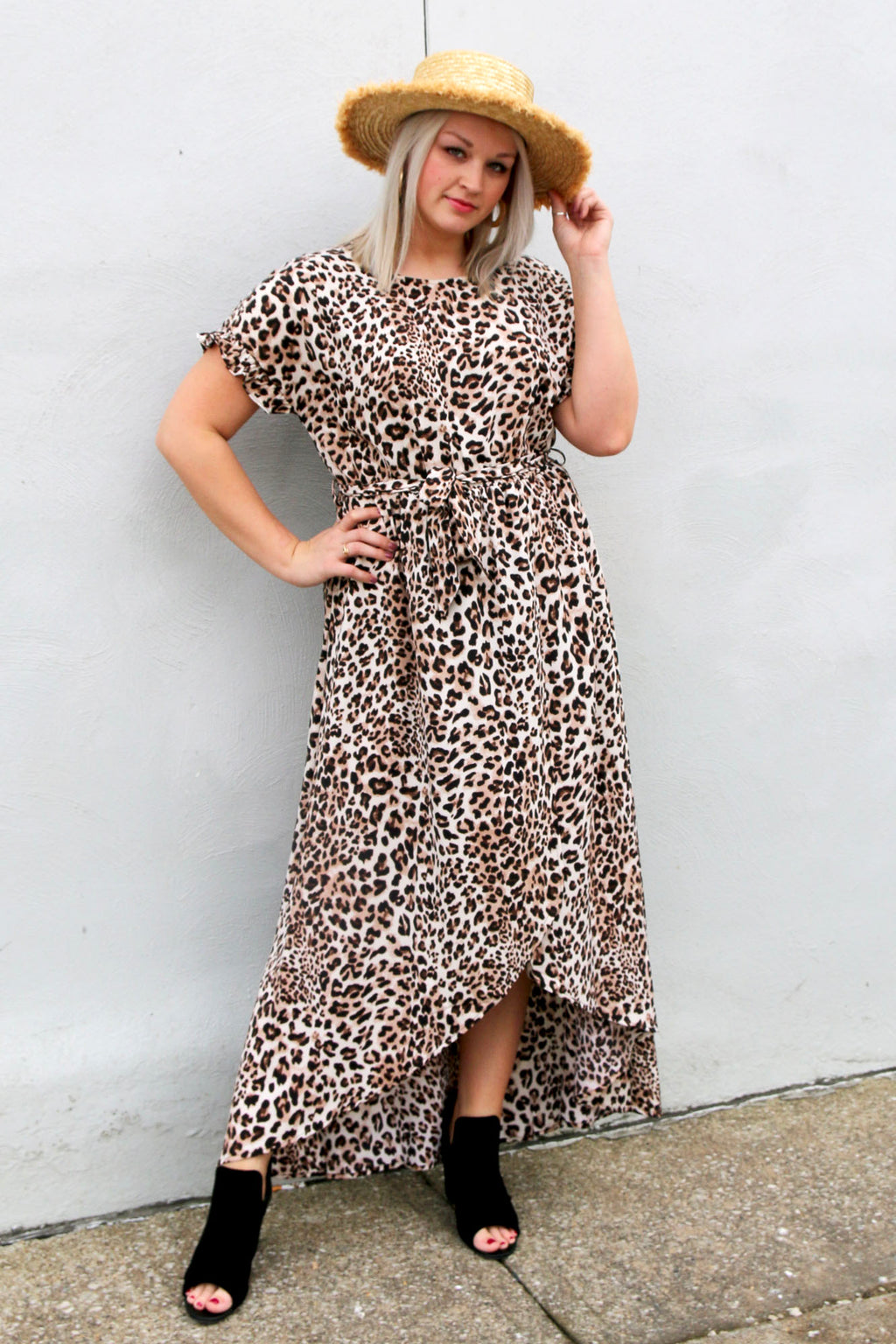 Leopard Overwrap Waist Belted Maxi Dress - Yellow Kiss Boutique
