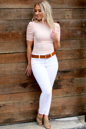 Mock Neck Short Puff Sleeve Top- Pale Blush - Yellow Kiss Boutique