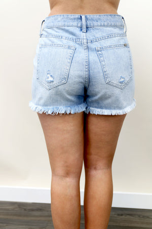 Light Wash High Rise Girlfriend Shorts - Yellow Kiss Boutique