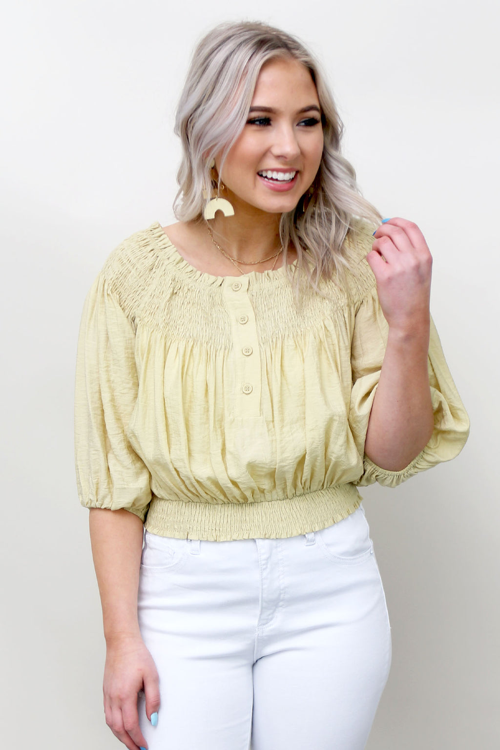 Flirty Smock Top - Yellow Kiss Boutique