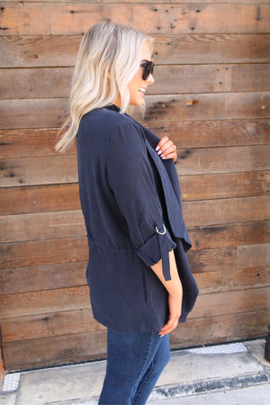 Not Leaving Without It Navy Jacket - Yellow Kiss Boutique