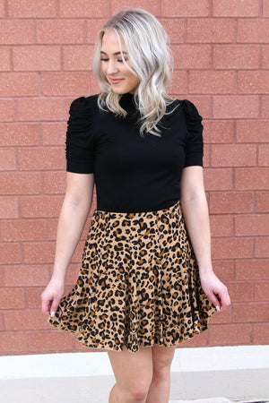 Ruffle Leopard Print Skirt - Yellow Kiss Boutique