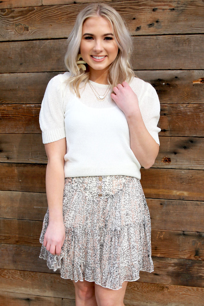 High Waist Floral Skirt - Yellow Kiss Boutique