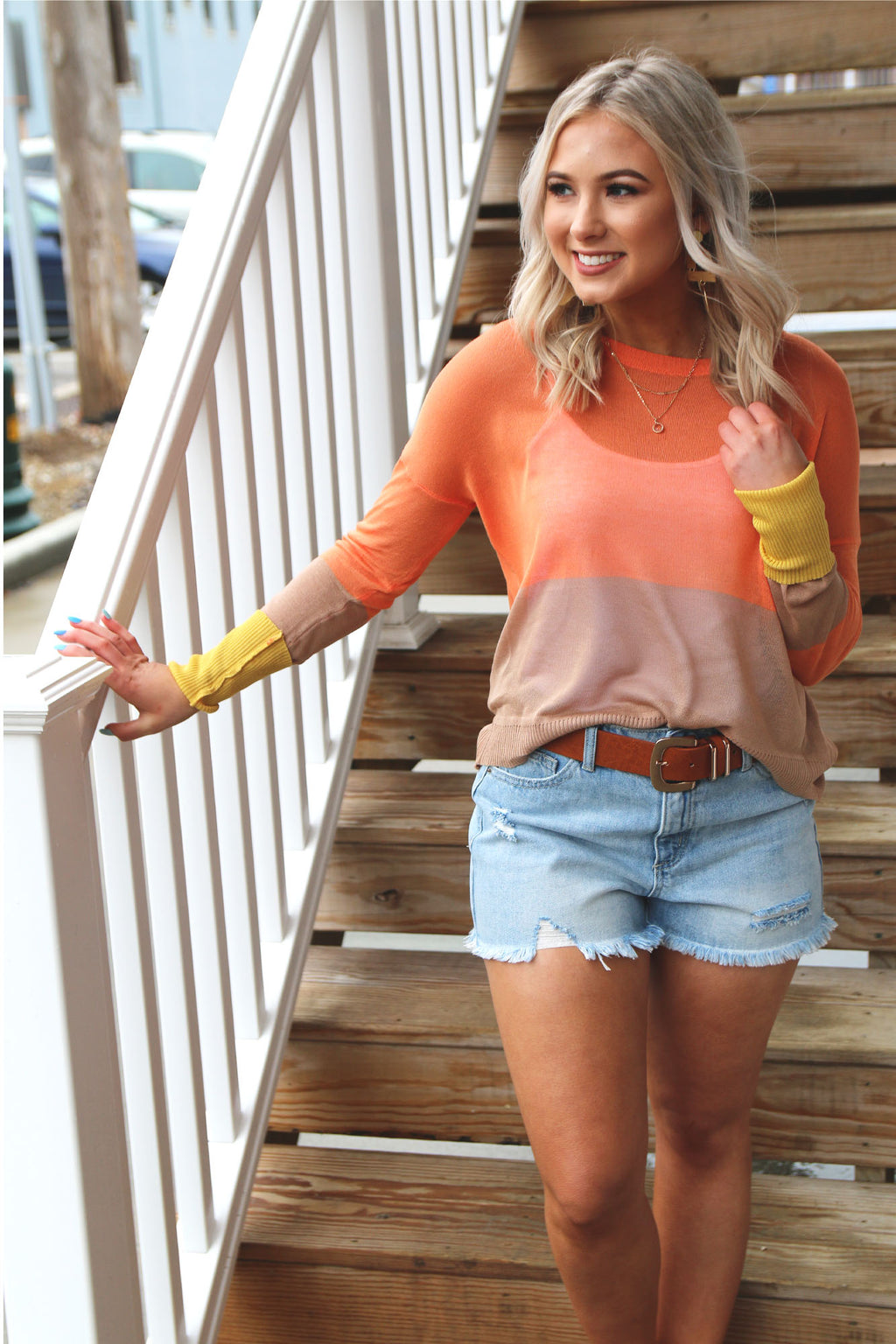 Hi-Low Color Block Long Sleeve Top - Yellow Kiss Boutique