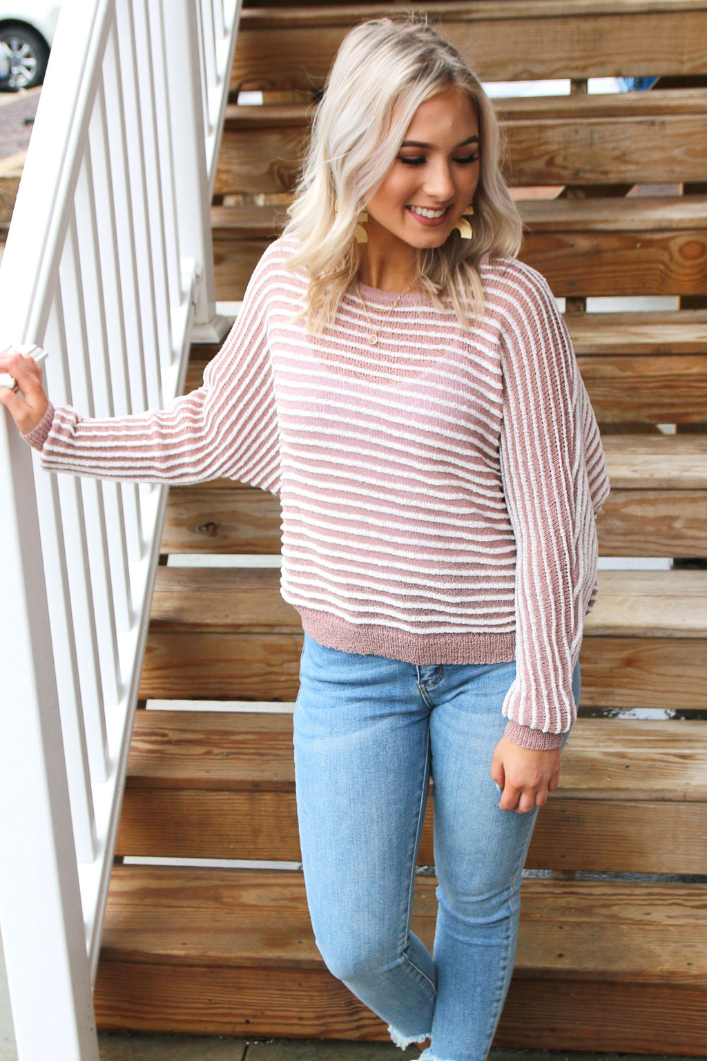 Mocha Striped Sweater - Yellow Kiss Boutique