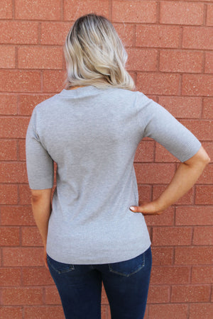 Grey Short Sleeve Knit Sweater