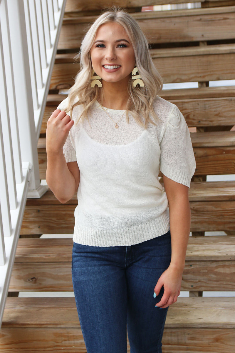 Cream Short Sleeve Sweater - Yellow Kiss Boutique