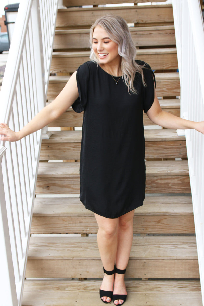 Black Satin Shift Dress With Tulip Sleeves