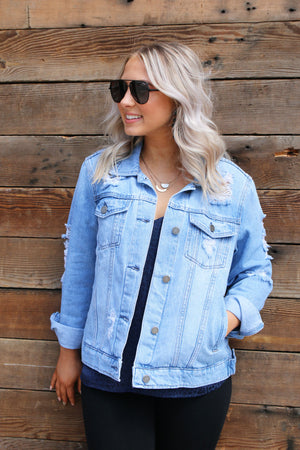 Distressed Boyfriend Jacket - Yellow Kiss Boutique