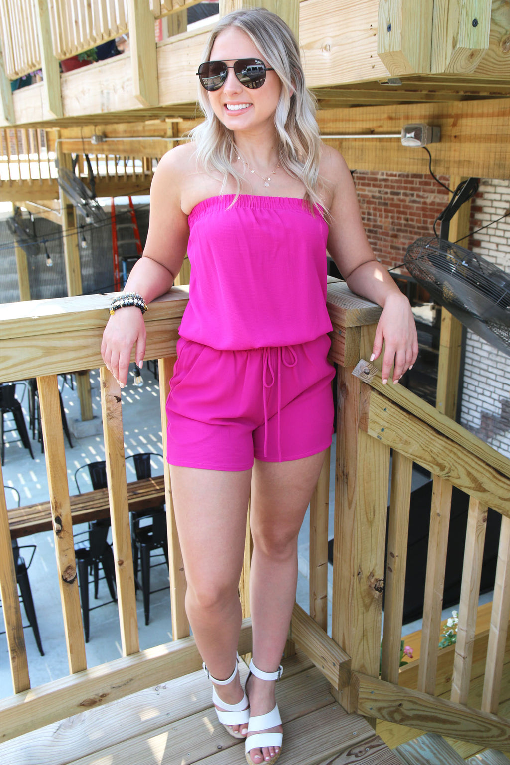 Feeling Right Romper- Fuchsia