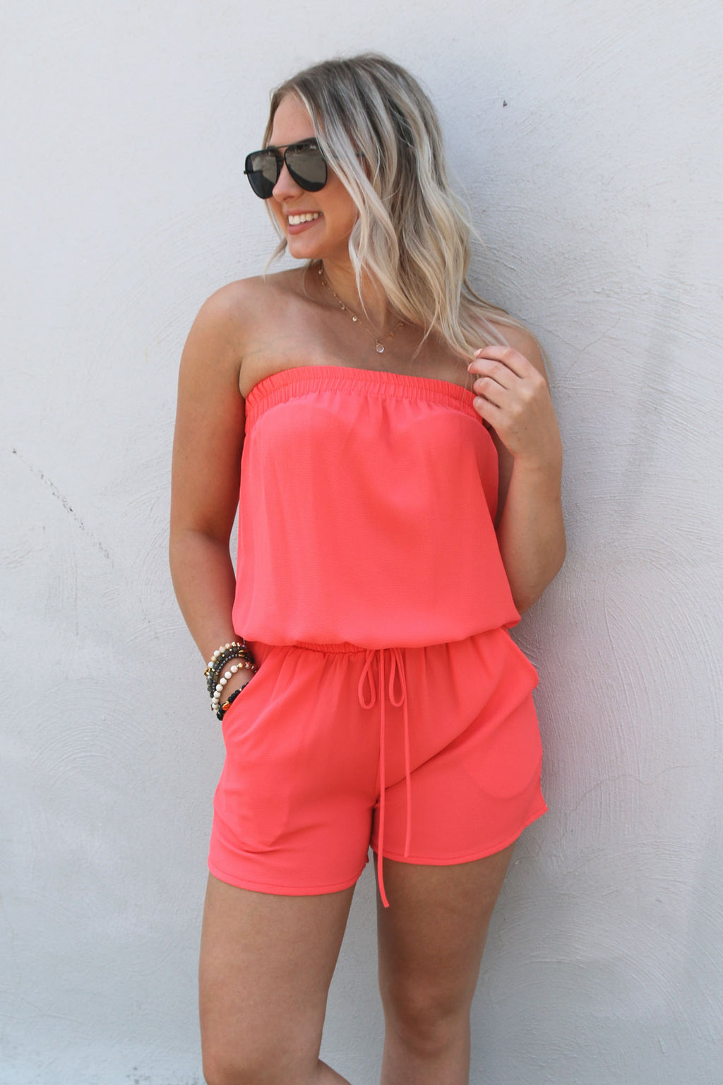 Feeling Right Romper- Bright Coral