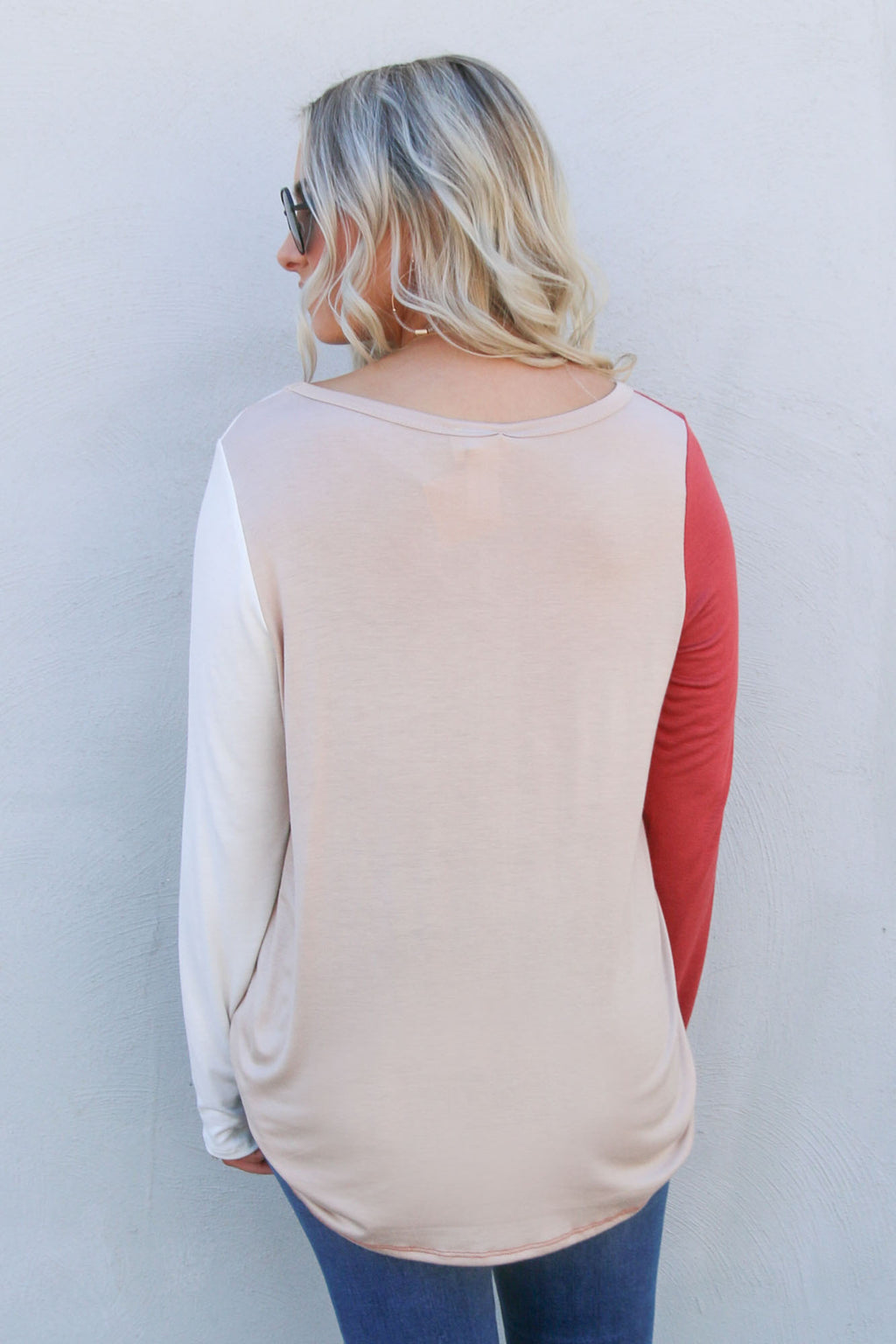 Spliced Rust Long Sleeve Pocket Tee