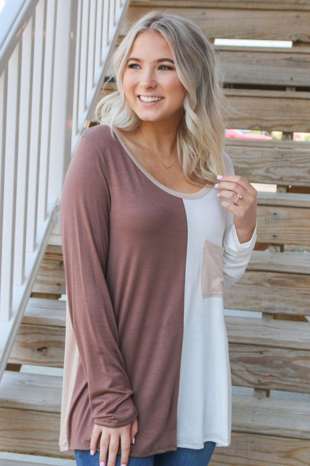 Spliced Mocha Long Sleeve Pocket Tee