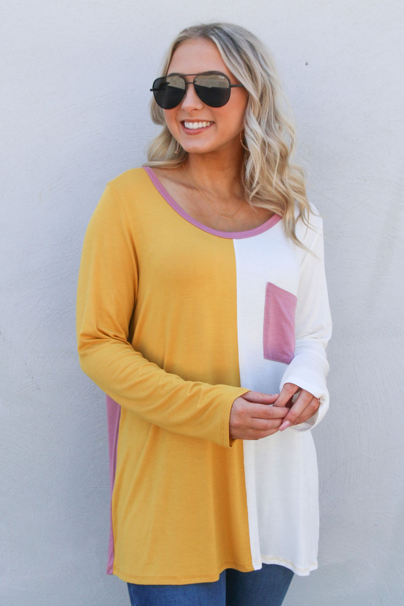 Spliced Mustard Long Sleeve Pocket Tee