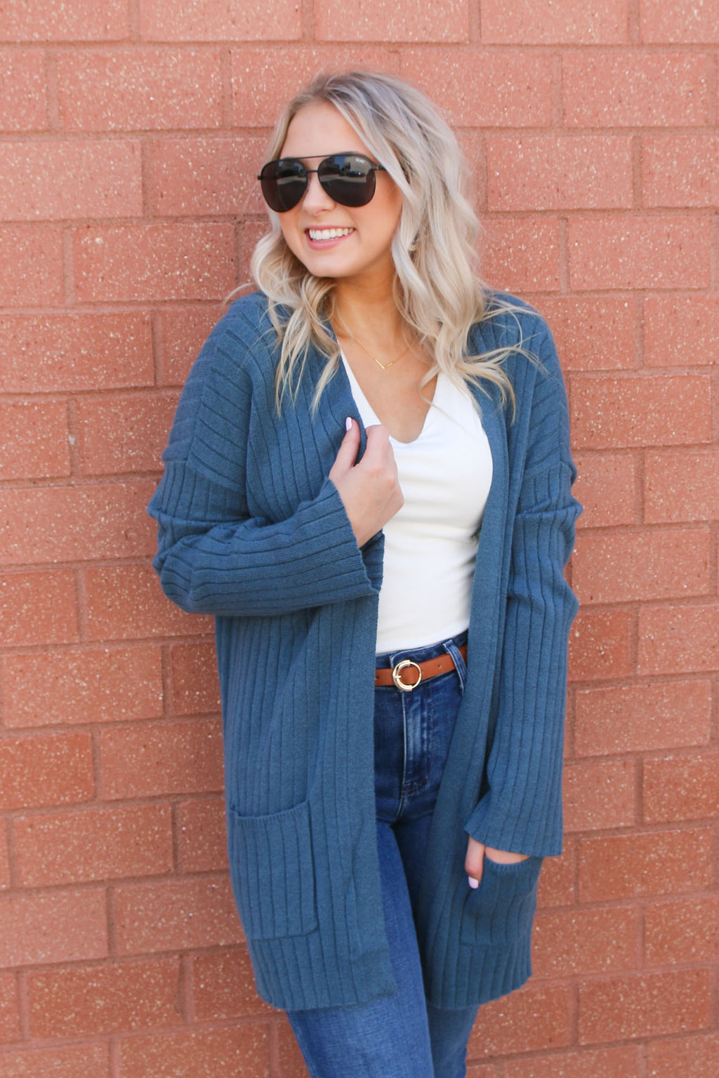 Teal Blue Pocket Cardigan