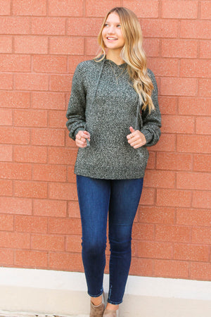 Green With Envy Hooded Two-Toned Sweater