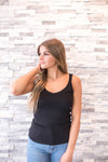 Scallop Edge Sweater Tank - Black