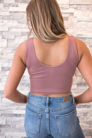 Seamless Finley Ribbed Crop Tank - Mauve