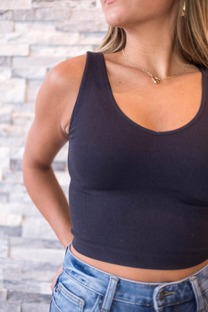 Seamless Finley Ribbed Crop Tank - Black