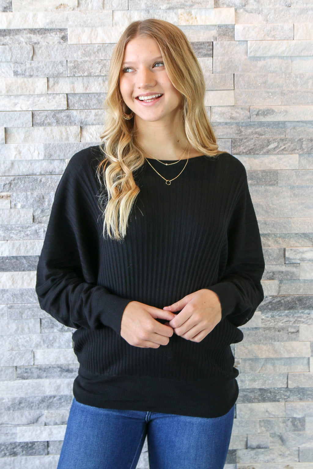 Erica Black Ribbed Sweater