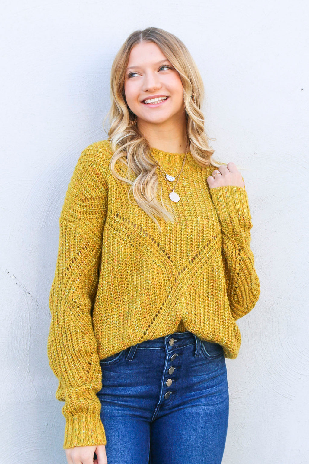 Speckled Poppy Sweater - Mustard