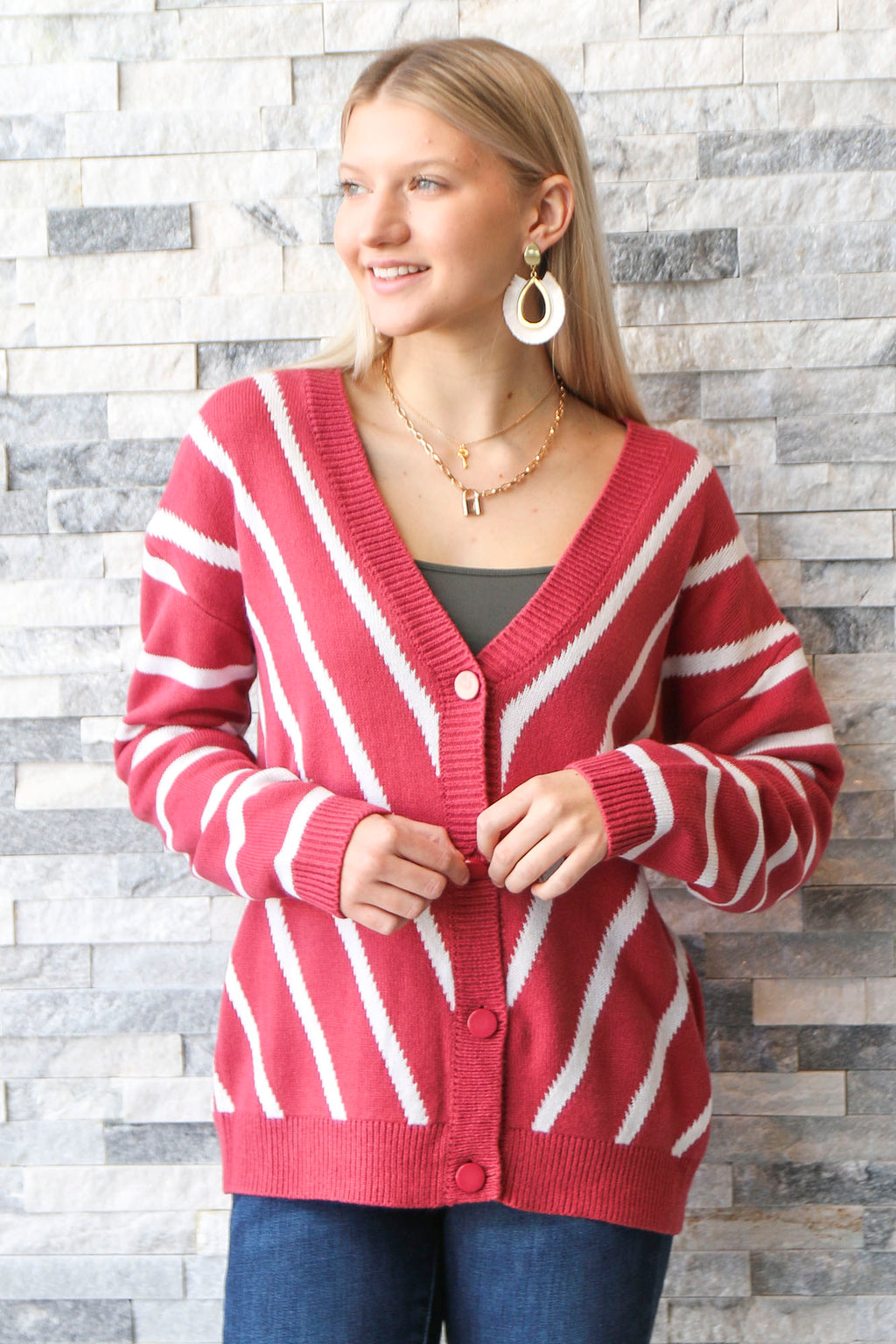 Red Bean Button Sweater