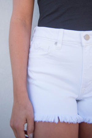 High Rise White Frayed Shorts