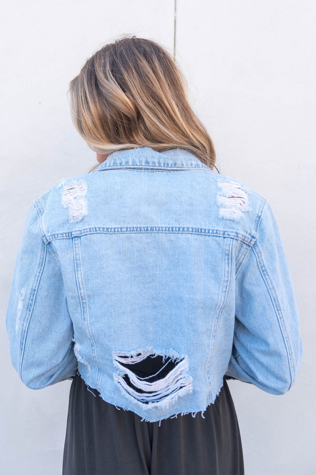 Super Destroyed Crop Denim Jacket
