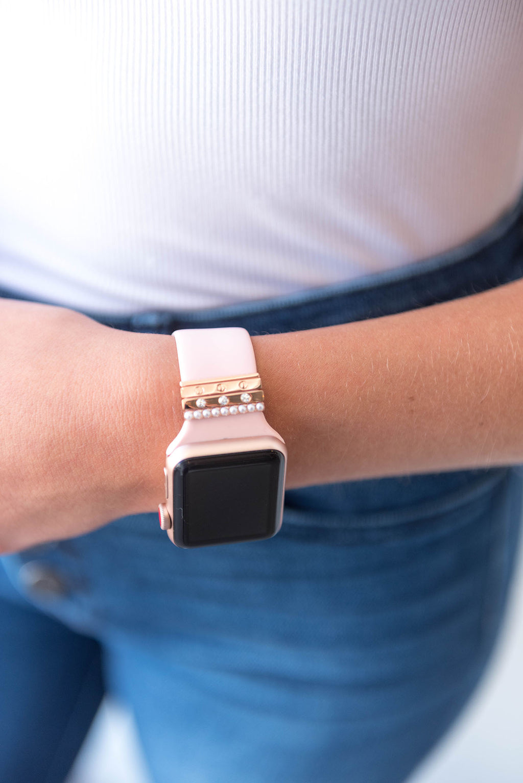 Watch Band - Solid Silicone with Pearl Rings