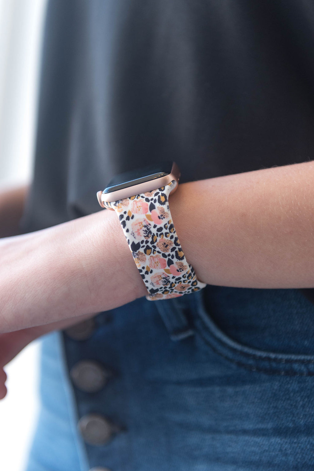 Watch Band - Silicone Floral Leopard