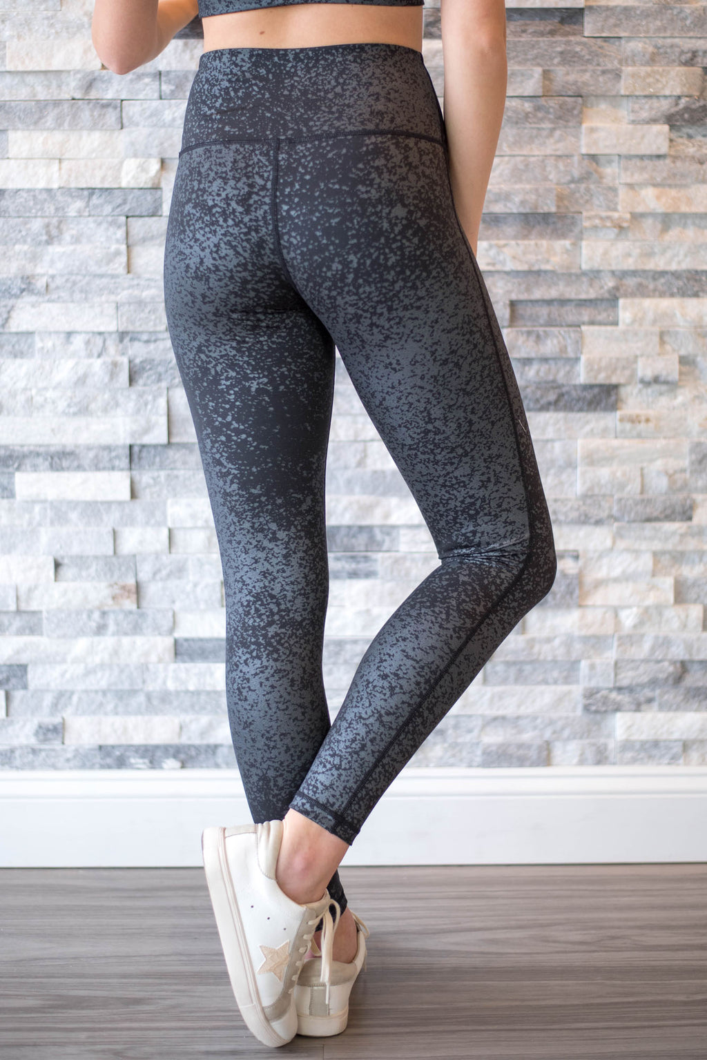 Foil Highwaist Leggings - Black