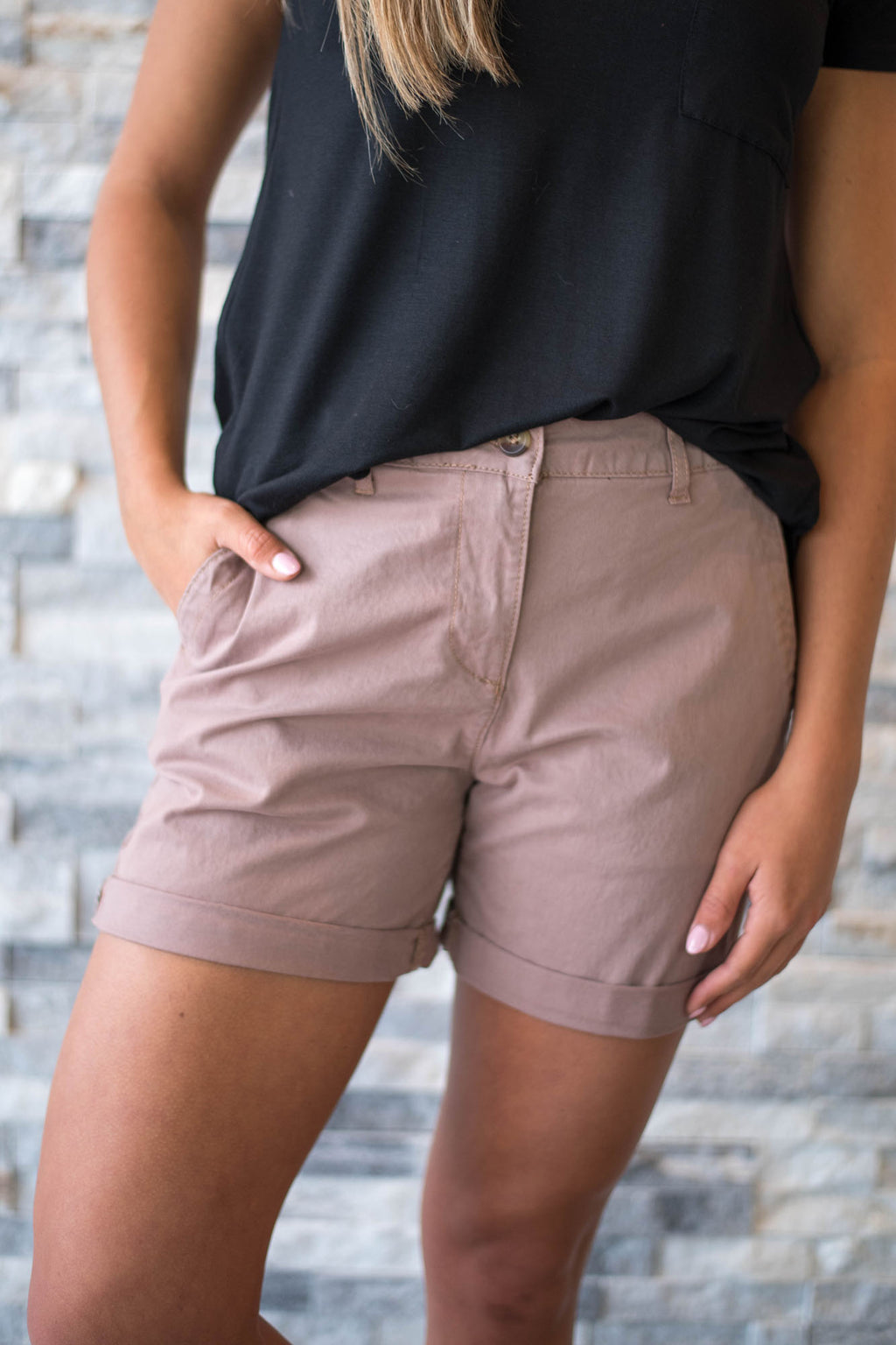 Taupe Basic Shorts