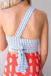 Pinstripe One Shoulder Crop Nani