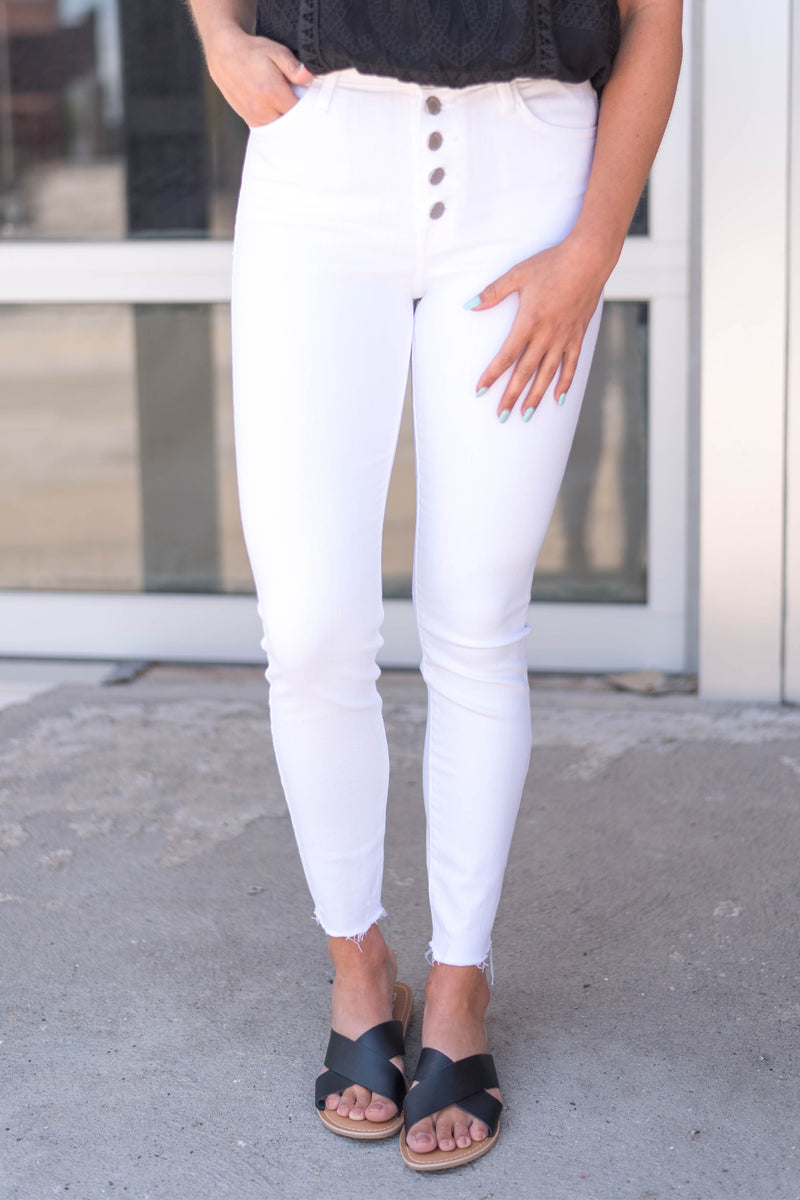 White Button Up Skinny with Hem Scratch