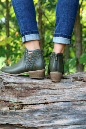 Mandy Booties in Khaki Green - Yellow Kiss Boutique