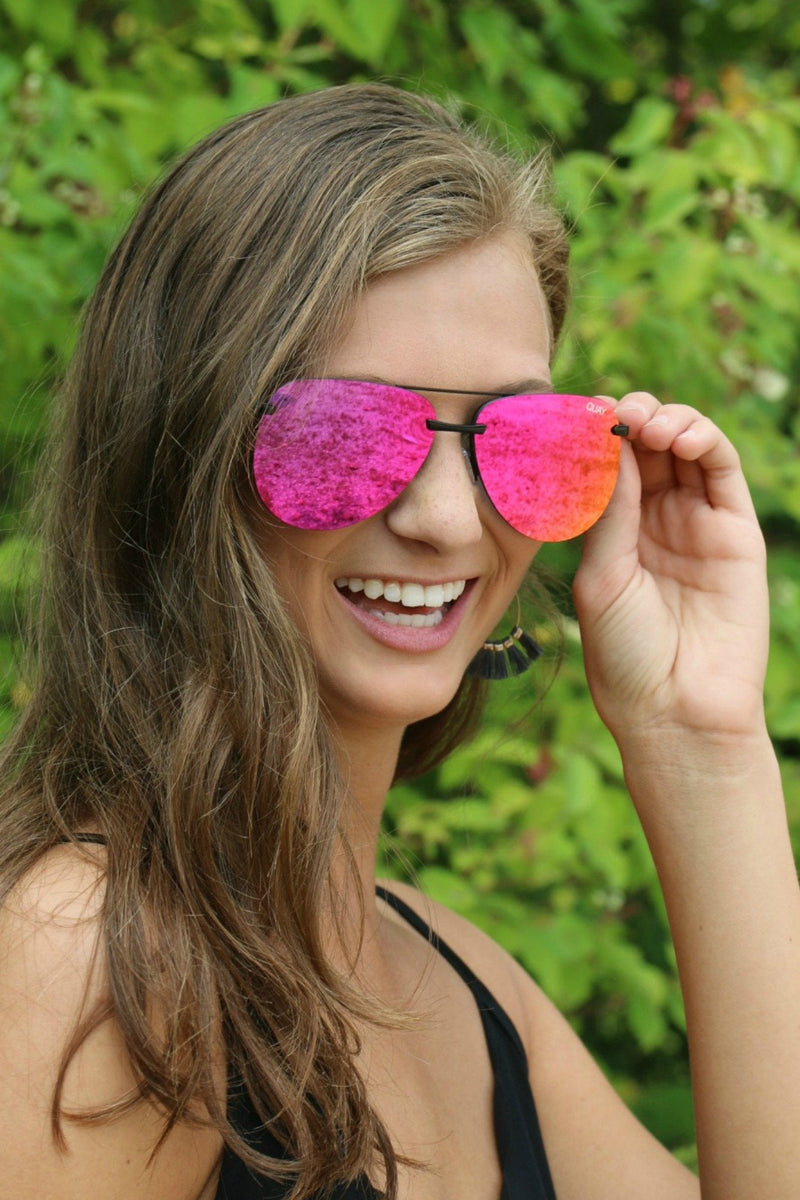Sunnies - The Playa - Black/Pink Mirror