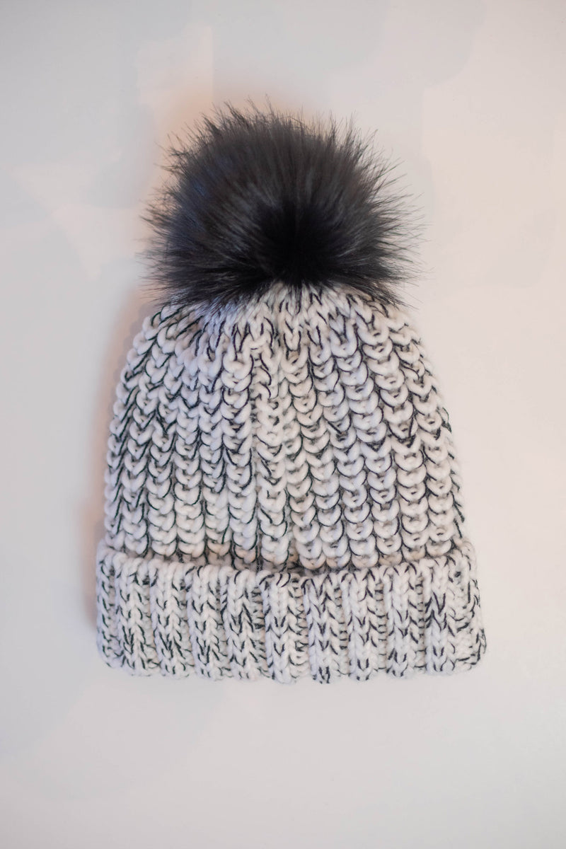 White with Black Speckled Pom Hat