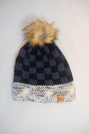 Grey and Black Checkered Pom Hat
