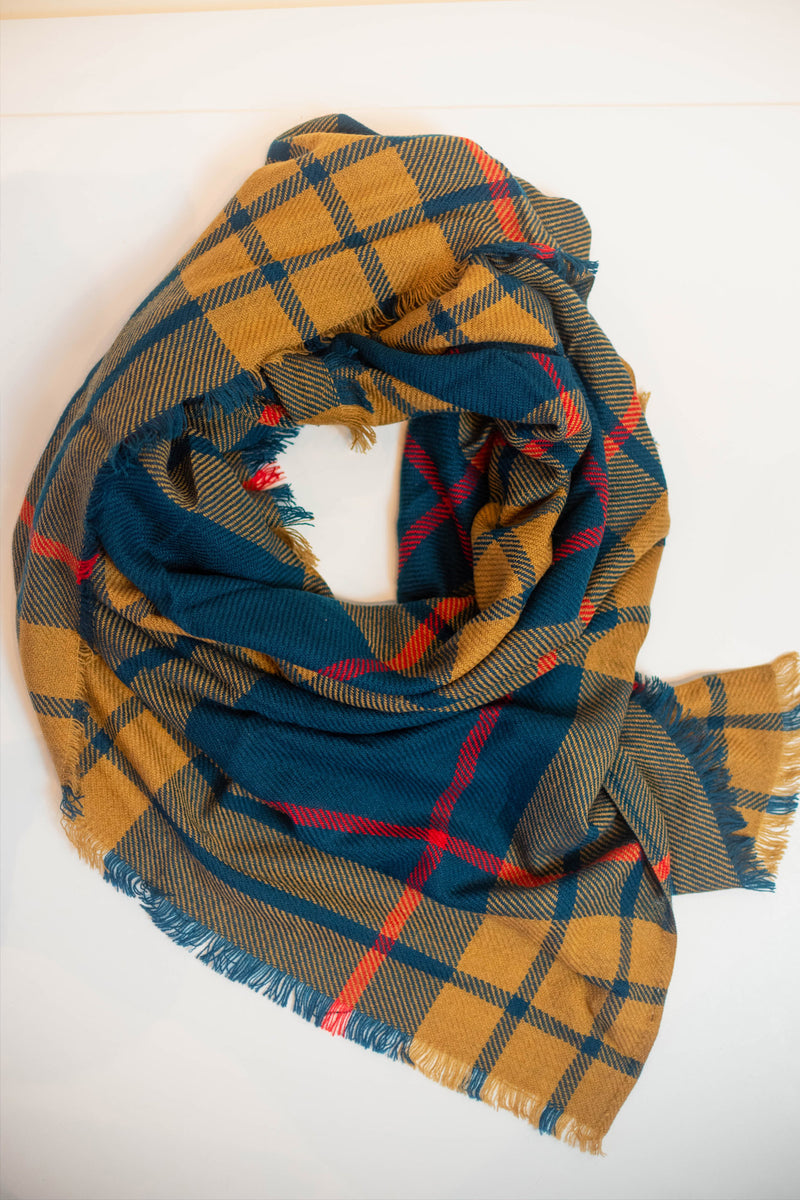 Mustard & Blue Plaid Blanket Scarf