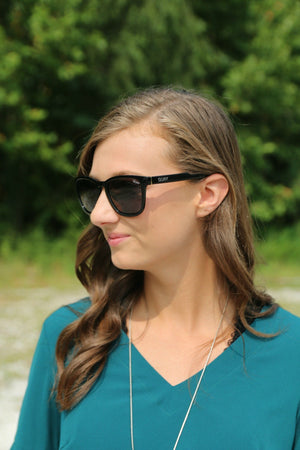 Sunnies - Hardwire - Black/Smoke Lens - Yellow Kiss Boutique