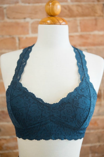 Padded Racerback Lace Bra Teal