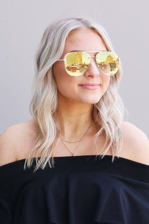 Sunnies - High Key Rimless Gold Brown Quay