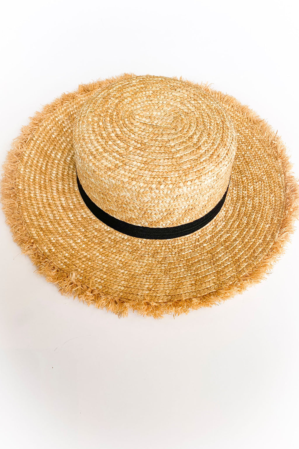 Fringe Boater Hat - Yellow Kiss Boutique