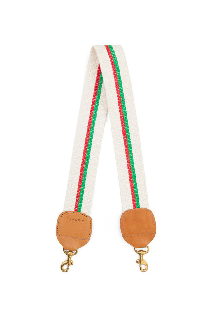 clare v. shoulder strap natural with green and red stripes