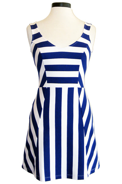 amour vert kristi dress blue stripe