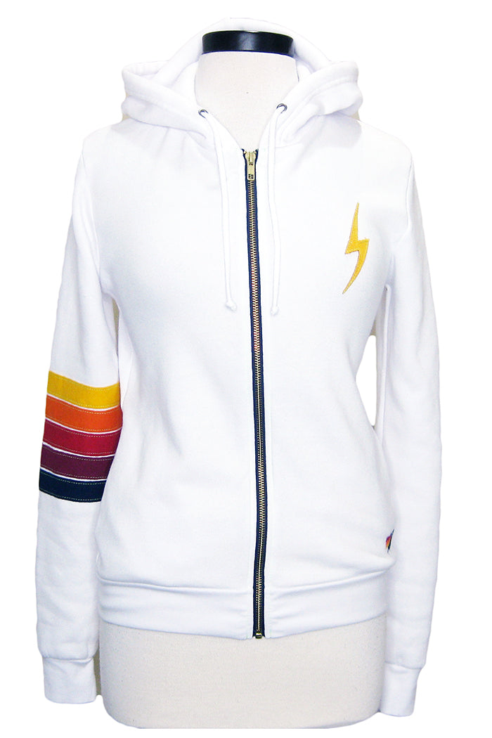 aviator nation bolt stitch stripe hoodie white